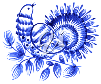Royalty Free Clipart Image of a Decorative Bird