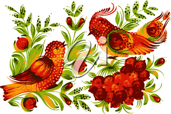 hand drawn, vector, illustration in Ukrainian folk style