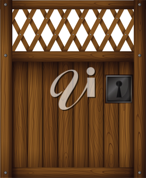 Illustration of a wooden gate door on a white background