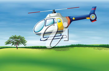 Illustration of a helicopter about to land