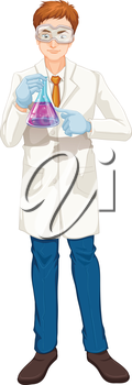 Illustration of a chemist on a white background