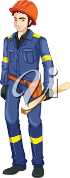 Illustration of an engineer on a white background