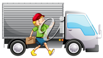 A mailman and a delivery truck on a white background