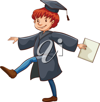 A male graduate on a white background