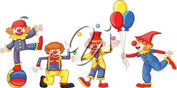 A drawing of the four colourful clowns on a white background
