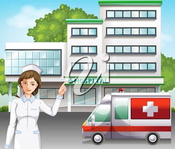 A nurse standing in front of the hospital