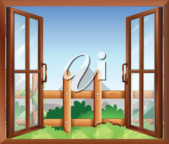 Illustration of a window with a view of the backyard