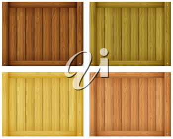 Illustration of the wooden tile designs on a white background