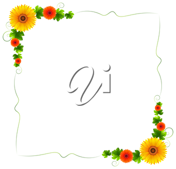 Illustration of a colourful floral border on a white background