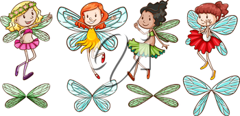 A simple sketch of four fairies on a white background