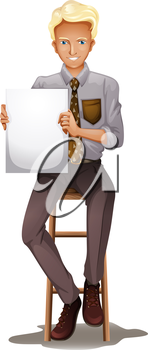 Illustration of a smiling businessman holding an empty signboard on a white background