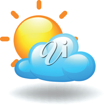 Illustration of a sunny weather condition on a white background