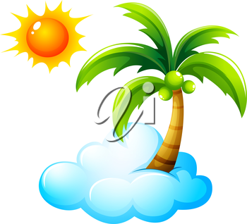 Illustration of a beach with a bright sun on a white background