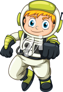 lllustration of a young astronaut on a white background