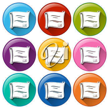 Buttons with certificates on a white background