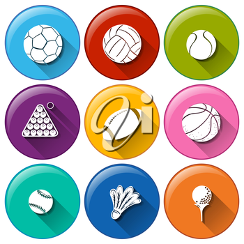 Illustration of the round icons with the different sports balls on a white background
