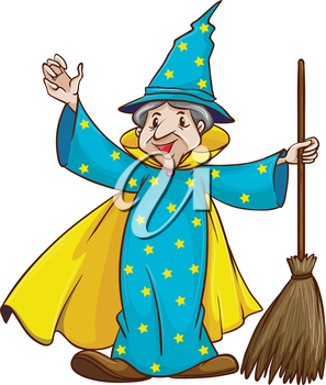 Illustration of a witch holding a broom on a white background