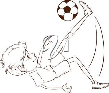 Illustration of a plain sketch of a soccer player on a white background