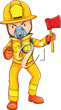 Illustration of a drawing of a firefighter on a white background