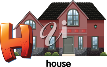 Illustration of a letter H for house on a white background