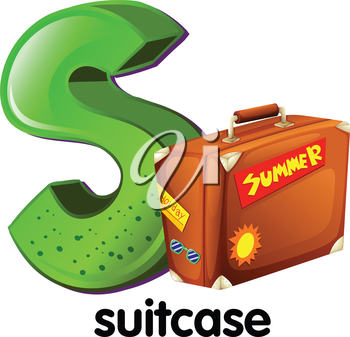 Illustration of a letter S with a suitcase on a white background