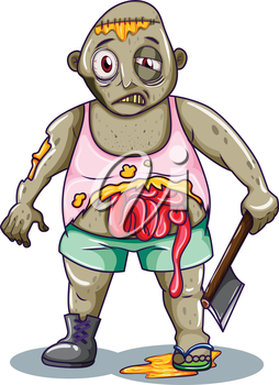 Illustration of a zombie holding a sharp weapon on a white background