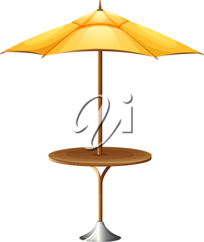 Illustration of a table with an umbrella on a white background