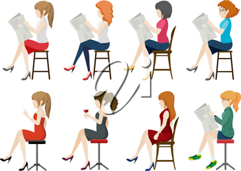 Illustration of faceless worker sitting on a chair