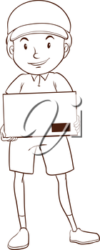 Illustration of a plain sketch of a postman on a white background