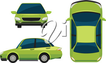 A green vehicle on a white background