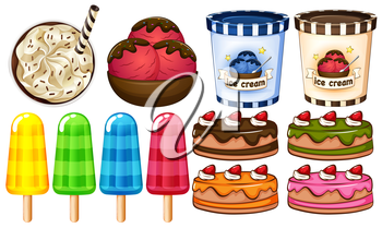 A group of desserts on a white background