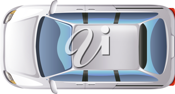 Illustration of a topview of a minivan on a white background