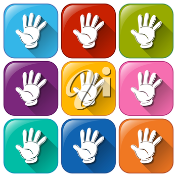 Illustration of the hand icons on a white background