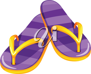 Illustration of a pair of purple sandals on a white background