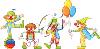 Illustration of a simple drawing of four playful clowns on a white background