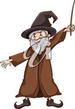 Illustration of a simple sketch of a wizard on a white background