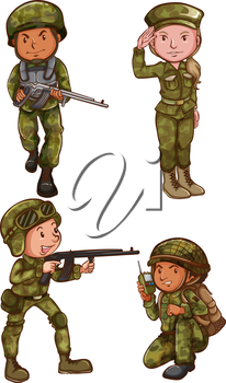 Illustration of the simple sketches of the soldiers on a white background