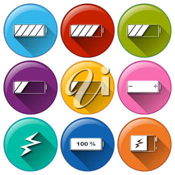Illustration of the round icons with batteries charging on a white background