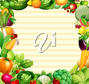 Frame design with vegetables and fruits illustration