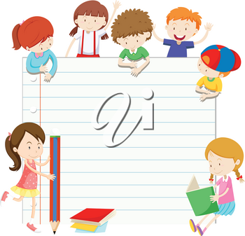 Line paper design with boys and girls illustration