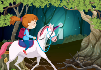 A girl riding unicorn at night illustration