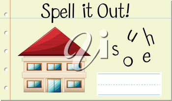 Spell it out house illustration