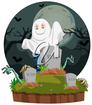 Scene with ghost in graveyard illustration