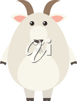 White goat on white background illustration