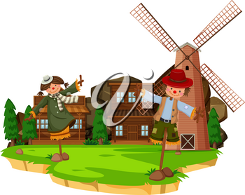 Western farm scene with scarecrows and windmill illustration