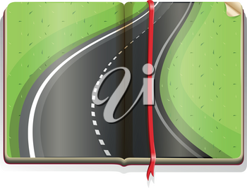 Empty road on the book illustration