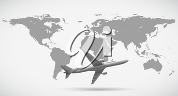 Grayscale of world map and airplane illustration