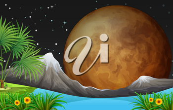 Nature scene with fullmoon at night illustration