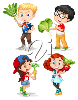 Boys and girls with fresh vegetables illustration