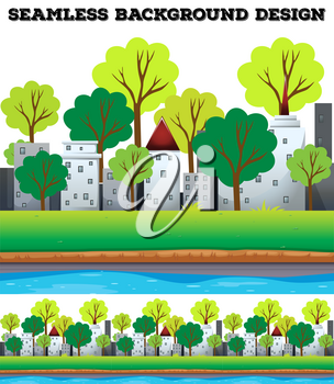 Seamless buildings and trees along the river illustration